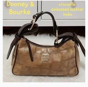 💗 Dooney & Bourke Leather Croco emb. hobo bag